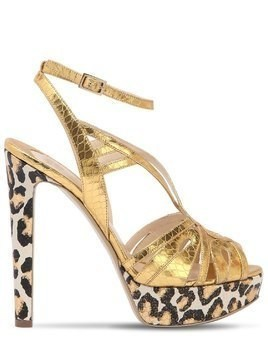 120MM LEOPARD METALLIC LEATHER SANDALS