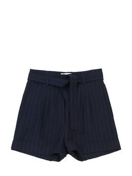 PINSTRIPED LINEN BLEND SHORTS