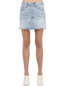 DECONSTRUCTED COTTON DENIM SKIRT