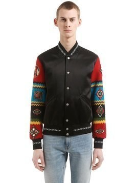 TEDDY JACKET W/ EMBROIDERED SLEEVES