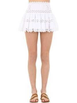 COTTON VOILE AND LACE MINI SKIRT