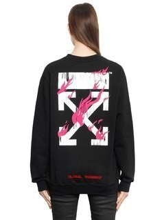 FIRE OVERSIZED COTTON JERSEY SWEATSHIRT