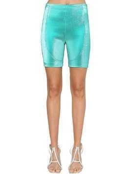 STRETCH LAMÉ BIKER SHORTS