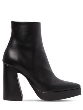 105MM LEATHER PLATFORM ANKLE BOOTS
