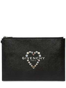 ICON PRINTED HEART FAUX LEATHER POUCH