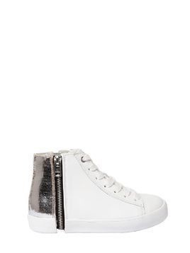 METALLIC&LEATHER HIGH TOP SNEAKERS