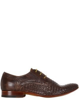 WOVEN & WASHED LEATHER DERBY SHOES