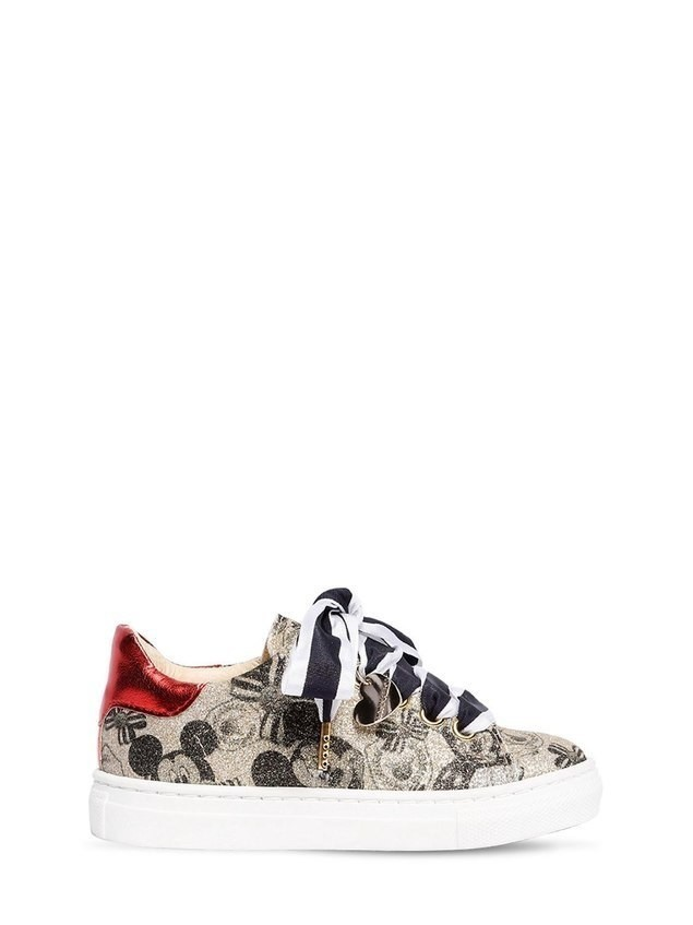 MICKEY MOUSE PRINT FAUX LEATHER SNEAKERS