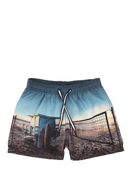 BEACH PRINTED NYLON SWIM SHORTS