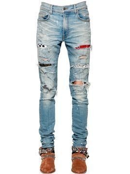 15CM PATCH PAINTED COTTON DENIM JEANS