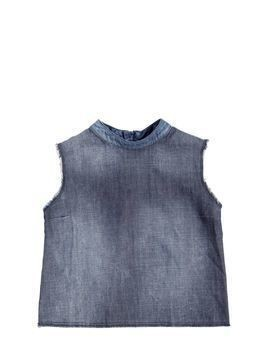 PATCHWORK LIGHT COTTON DENIM TOP