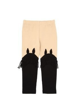 COTTON JERSEY LEGGINGS W/ FRINGE