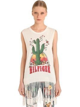 FRINGED VISCOSE JERSEY TANK TOP