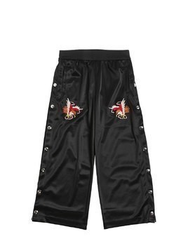 EMBROIDERED TRIACETATE PANTS