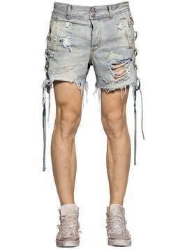 LACE-UP DESTROYED COTTON DENIM SHORTS