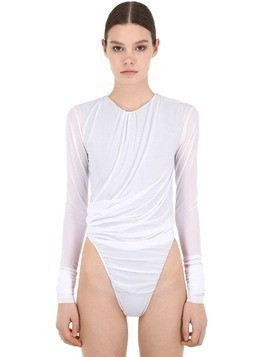 SHEER LYCRA & COTTON JERSEY BODYSUIT