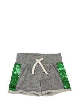 SEQUINED COTTON SWEAT SHORTS
