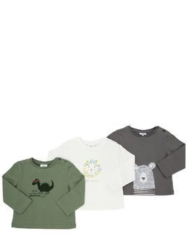 SET OF 3 PRINTED COTTON JERSEY T-SHIRTS