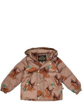 DUCK PRINTED HOODED NYLON PUFFER JACKET