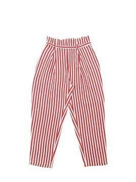 STRIPED LINEN BLEND HIGH WAIST PANTS