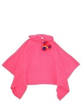HOODED WOOL KNIT PONCHO W/ POMPOMS