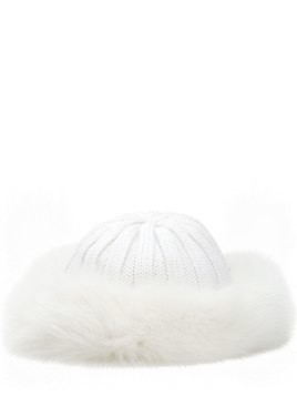 WOOL KNIT BEANIE HAT W/ FUR TRIM