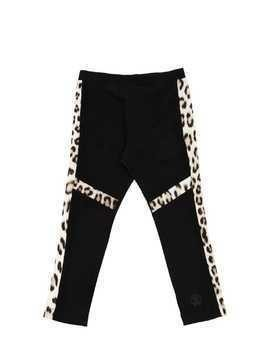 COTTON JERSEY LEGGINGS W/LEOPARD DETAILS