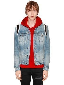 VARSITY LEATHER&DENIM TRUCKER JACKET