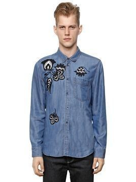 EMBROIDERED TENCEL DENIM EFFECT SHIRT