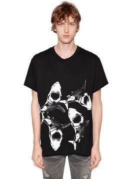 SHARK PRINTED COTTON JERSEY T-SHIRT