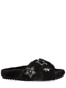 20MM STARS FAUX FUR SLIDE SANDALS