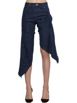 CROPPED ASYMMETRIC STRETCH COTTON JEANS