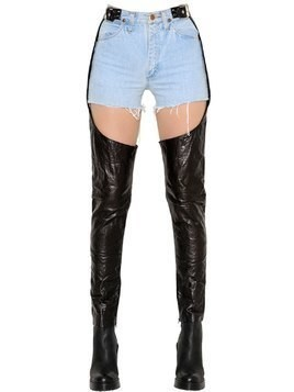 VINTAGE DENIM SHORTS & LEATHER CHAPS