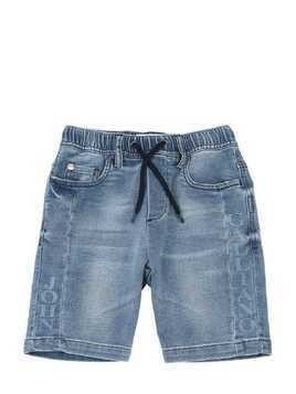 DENIM EFFECT COTTON SWEAT SHORTS