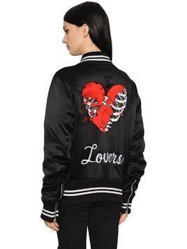 LOVERS EMBROIDERED SATIN BOMBER JACKET
