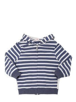 STRIPED HOODED ZIP-UP COTTON SWEATSHIRT