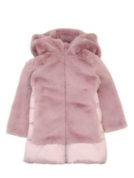 HOODED FAUX FUR & NYLON PUFFER COAT