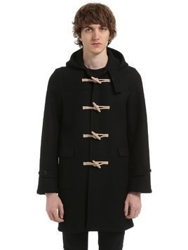 HOODED WOOL FELT DUFFLE COAT