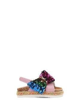 LEATHER SANDALS W/ SEQUINED BOW