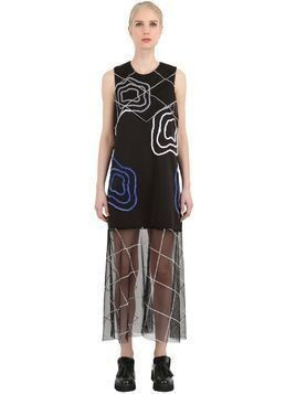 NEOPRENE&TULLE EMBROIDERED DRESS