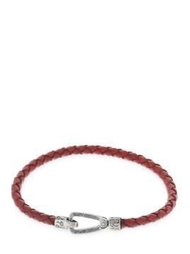 RED LASH BRAIDED LEATHER BRACELET