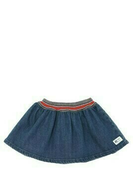Denim Effect Cotton Mini Skirt