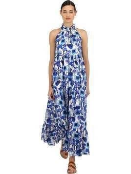 FLORAL PRINT SILK TWILL MAXI DRESS
