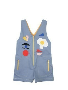 STRETCH COTTON DENIM JUMPSUIT W/PATCHES