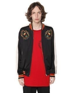 EMBROIDERED TECHNO SATIN BOMBER JACKET