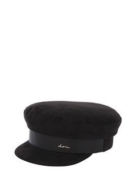 SUEDE & LEATHER BLACK CAPTAIN'S HAT