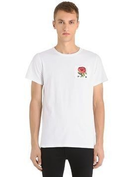 ROSE PATCH COTTON JERSEY T-SHIRT