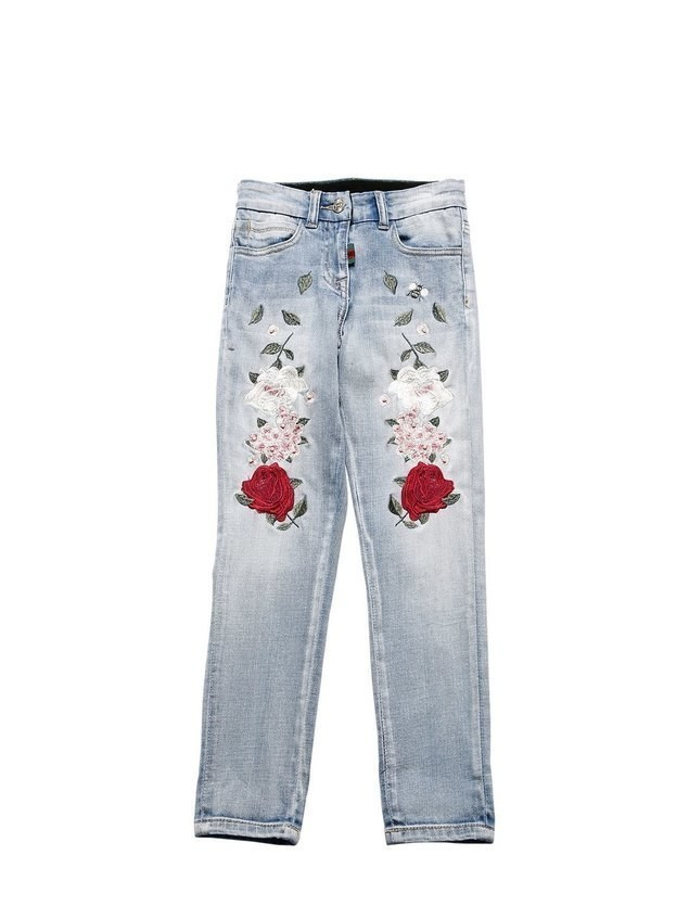 EMBROIDERED STRETCH DENIM JEANS