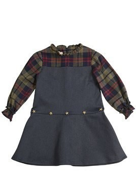 STRETCH DENIM & COTTON FLANNEL DRESS