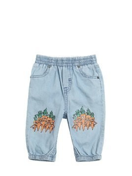 CARROTS PRINT LIGHT DENIM PANTS